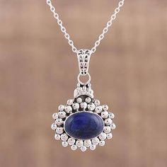 Lapis lazuli pendant necklace, 'Jewel of Jaipur' - Lapis Lazuli and Sterling Silver Pendant Necklace from India