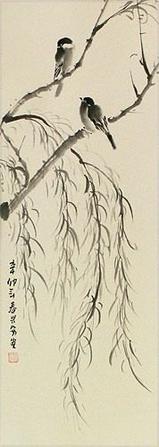 Birds on Willow Branch Wall Scroll close up view