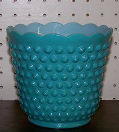 turquoise hobnail planter $15