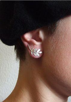Silver leaves earring