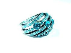 Vintage Ring Antique Silvertone Blue Crystals Engagement Rings Boho Jewelry