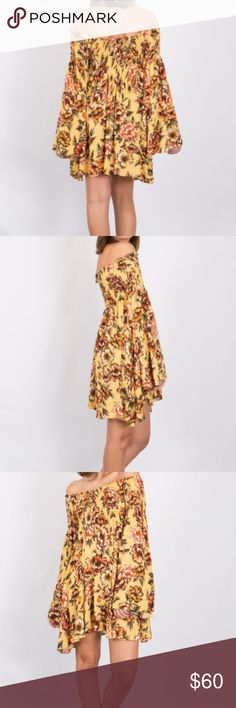 Yellow Off Shoulder Dress Floral off shoulder yellow dress Olivaceous Dresses Mini