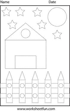 Picture Tracing – Shapes – Circle, Star, Triangle, Square and Rectangle – 1 Worksheet / FREE Printable Worksheets – Worksheetfun Shape Tracing Worksheets, Tracing Shapes, Free Printable Worksheets, Writing Worksheets, Kindergarten Worksheets, Tracing Lines, Tracing Letters, Preschool Writing, Free Preschool