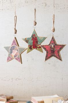 Kalalou Printed Wooden Star Ornaments With Vintage Santas - Large - Set Of 3