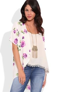 Deb Shops Short Sleeve Kimono with Purple Rose Print