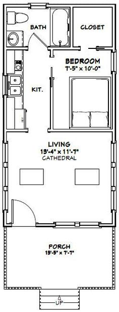 16x30 1 bedroom house --  16x30h1 -- 480 sq ft
