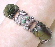 RARE Spratling Turquoise Frog Bracelet 1940's Mexico Sterling Silver