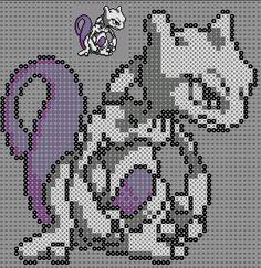 pixel art en perle hama: mewtwo perles à repasser