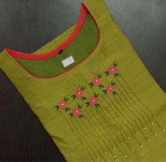 Embroidery On Kurtis, Hand Embroidery Dress, Kurti Embroidery Design, Embroidery Neck Designs, Kurtha Designs, Chudi Neck Designs, Dress Neck Designs, Churidar Neck Designs, Kurta Neck Design