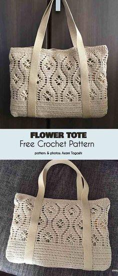Flower Tote Bag Free Crochet Pattern - Crochet Ideas by Sammie n' Sandy (starting new) Free Crochet Bag, Crochet Purse Patterns, Crochet Market Bag, Crochet Tote, Bag Patterns To Sew, Crochet Handbags, Crochet Purses, Crochet Crafts, Crochet Projects