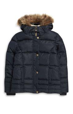 Primark - Navy Fur Hood Jacket