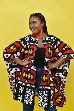 African Clothing For Women Plus Size, Ankara Top, Oversized Kimono, Dashiki, Red Poncho at Diyanu African Attire, African Wear, African Dress, African Style, African Tops For Women, African Print Fashion, African Fashion Dresses, Ankara Fashion, Africa Fashion