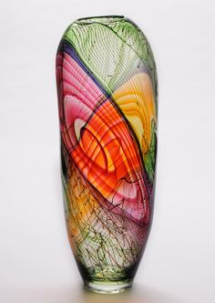 Bob Crooks April 2013 Contour Vase (green,amber & Red) | John Noott Galleries
