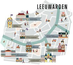 Map of Leeuwarden for Jamie Magazine the Netherlands Istanbul Map, Village Map, Map Projects, Country Maps, Family Roots, Pub Crawl, Travel Illustration, Map Design, Travel Maps