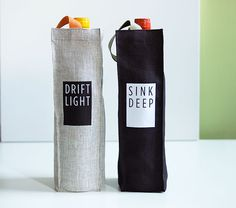 Linen Wine Bottle Tote Bag Set of 2 in Black and by studiowonjun, $32.00