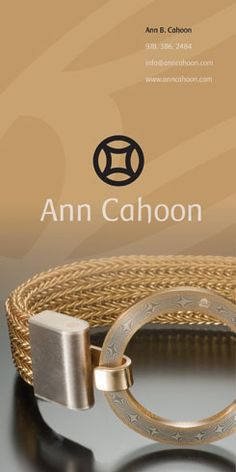 Another jeweler's advertisement, this time for Ann Cahoon. The ad/s ran in the 2010 Designer Jewelery Showcase, a hardcover book of high-end jewelers. As a value added service, the publication also offers reprints of the ads as postcards. This page will be produced as one large postcard, and the other as three smaller postcards. My Design, Graphic Design, Chains, Postcards, Jewelery, Ann, Advertising, Book, Accessories