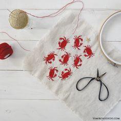 crab embroidery by yumikohiguchi