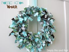 """Fabric Scraps Wreath: strips 1"""" by 6"""", floral wire wreath - 4 hoops/circles"""