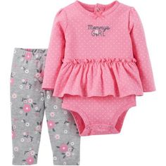 Child of Mine by Carter's Newborn Baby Girl Ruffle Bodysuit and Pant Outfit Set - Walmart.com
