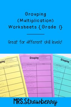 Three grouping worksheets for students just beginning to learn about multiplication. Includes a range of problems of increasing difficulty. Multiplication Activities, Phonics Activities, Primary Resources, Australian Curriculum, Word Problems, Grade 1, Early Childhood, Mathematics, Strawberry