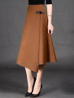 Spring Autumn Formal A-Line Long Skirt For Girls All-Match Solid Mid-Calf Bust Skirt Women's Timmiury Women Sexy Winter Wool Skirts High Waist A-line Casual Midi Skirt Gray/Khaki/Red Saia Longa 2017 Autumn Office Skirts skirt with buckle detail i hav Modest Fashion, Fashion Dresses, Stylish Dresses, Mode Hijab, Vintage Skirt, Blouse Vintage, Mode Inspiration, Womens Fashion, Fashion Trends