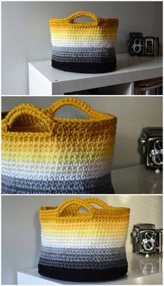 10 Free Crochet Basket Patterns for Beginners – 101 Crochet Patterns Crochet Mittens, Crochet Gifts, Crochet Home, Easy Crochet, Crochet Ideas, Crochet Basket Pattern, Afghan Crochet Patterns, Knitting Patterns, Crochet For Beginners