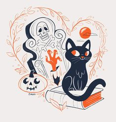 halloween illustration I heart Thackery Binx.This will be part of an illustration series of my favorite pop culture pets. Retro Halloween, Spooky Halloween, Chat Halloween, Halloween Mignon, Theme Halloween, Halloween Designs, Vintage Halloween Decorations, Holidays Halloween, Cute Halloween Tattoos
