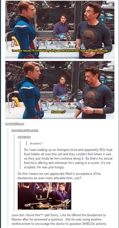 RDJ brings his own blueberries to the yard; rewards his cast mates with food.