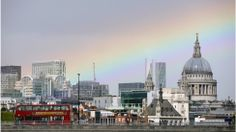 """""""The rainbow appears to arch over St Paul's cathedral and land in the City of London."""" Toby Brunt explains his photograph of this stunning rainbow taken on the 10th May via BBC Weather"""