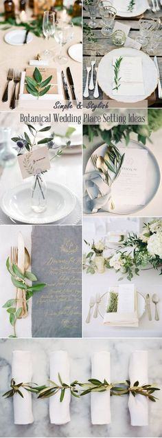 simple stylish botanical wedding place setting ideas