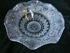 """Duncan & Miller Glass Company, Sandwich pattern, 11 3/4"""" ruffled fruit bowl, saw tooth edge"""
