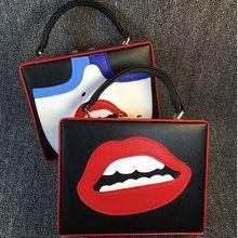 Boa qualidade design de moda sexy lábios vermelhos mulher divertido padrão de personalidade caixa de couro do plutônio saco senhoras bolsa mini messenger bag alishoppbrasil