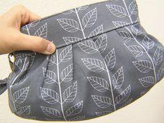 bridesmaids CLUTCH, Janbag Wristlet, wedding, handmade, gift, cosmetic - Leaf stripe graphite grey