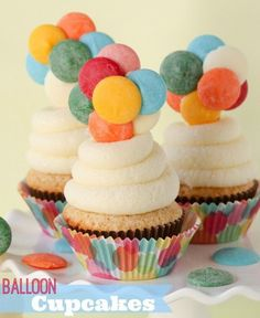 """""""UP"""" Inspired Balloon Cupcakes -- these fun cupcakes require no special decorating skills. The toppers are edible, too!!"""