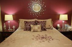 Maroon bedroom wall (I like the pillow arrangement, too.) Maroon bedroom wall (I like the pillow arrangement, too. Maroon Bedroom, Burgundy Bedroom, Gold Bedroom, Accent Wall Bedroom, Master Bedroom, Bedroom Colors, Bedroom Decor, Bedroom Ideas, Wall Decor