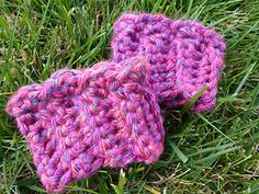 Cute bulky boot cuffs to help fill the gap in a child's boot and keep them warm, and an ear warmer headband.