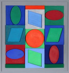 Artist: Victor Vasarely, Hungarian (1908 - 1997)  Title: Turkiz Positif  Year: 1967  Medium: Painted Wood Sculpture Multiple  Edition: 2/50  Size: 14.25 in. x 14.25 in. x 1.5 in. (36.2 cm x 36.2 cm x 3.81 cm)