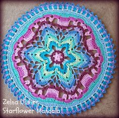 mandala http://zootyowlcards.blogspot.com/2014/04/starflower-mandala-pattern.html?m=1 Crochet Circles, Doily Patterns, Knitting Patterns, Free Crochet, Crochet Gratis, Crochet Round, Crochet Home, Crocs, Crochet Potholders