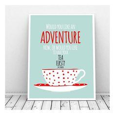 J M Barrie Quote, Tea Art, Tea Cup, Red Polka Dots, Instant Download, Tea Lover, Peter Pan, Vintage Tea Cup, Tea Art Print, Printable Art