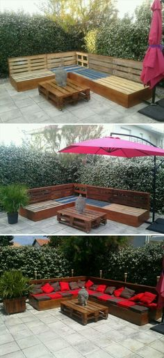 25 Easy And Cheap Backyard Seating Ideas – Hinterhof ideen Backyard Seating, Garden Seating, Outdoor Pallet Seating, Backyard Gazebo, Garden Gazebo, Backyard Landscaping, Pallet Exterior, Pallet Garden Furniture, Furniture Ideas
