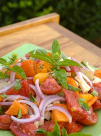 Recipe: Tomato Basil Salad. (Follow our other boards for detox, fitness, yoga and green living tips: pinterest.com/gaiam)