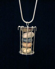 Natural Stone Stacked Cage Necklace no.157 by NaturalOrderStudio, $145.00