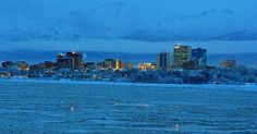 Anchorage in the winter dawn