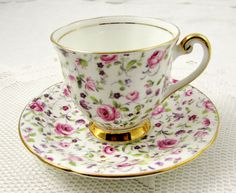 Vintage Chintz Tea Cup and Saucer, Made by Windsor, English Bone China