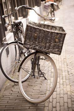 Amsterdam Photography - Bicycle with Basket, Fine Art Travel Photograph, Sepia, Urban Wall Decor by GeorgiannaLane on Etsy https://www.etsy.com/listing/152992170/amsterdam-photography-bicycle-with