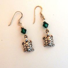 Silver plated Turtle, tortoise with Emerald Green Swarovski crystals earrings #EastofEden
