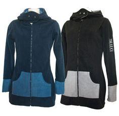 Damen-Fleecejacke navy-blau und schwarz-grau