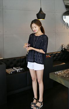The New Hollow-Fifth Of The Sleeve WornAlone Loose Short-Sleeved T-Shirt Navy JY15040321http://www.clothing-dropship.com