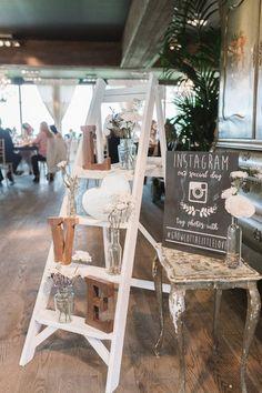 vintage ladders inspired wedding reception decoration ideas