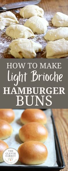 This recipe for light brioche hamburger buns proves that you can make seriously good hamburger buns at home. With a dough that's simple to make and easy to handle, you'll never buy brioche burger buns from the store again! Homemade Hamburger Buns, Hamburger Bun Recipe, Homemade Hamburgers, Homemade Soup, Vegetarian Snacks, Best Vegetarian Recipes, Savory Snacks, Savory Bread Recipe, Bread Recipes